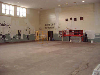 Interior of the old gym being converted