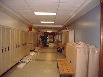 School's Front Hall filled with construction materials. Photos and captions by Harvey Carter C'60