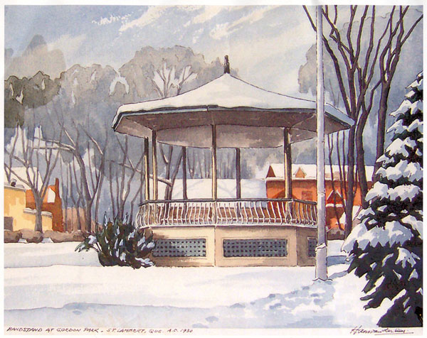 This painting of the Gordon Park bandstand – in winter – is an appropriate reflection of my feelings at the time. My first big romance had gone stone cold.