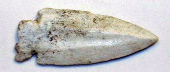 A 6.4-cm bone or antler point found by Andrew,  which shows a fluted face and deep notches, and possibly made for ceremonial burial.