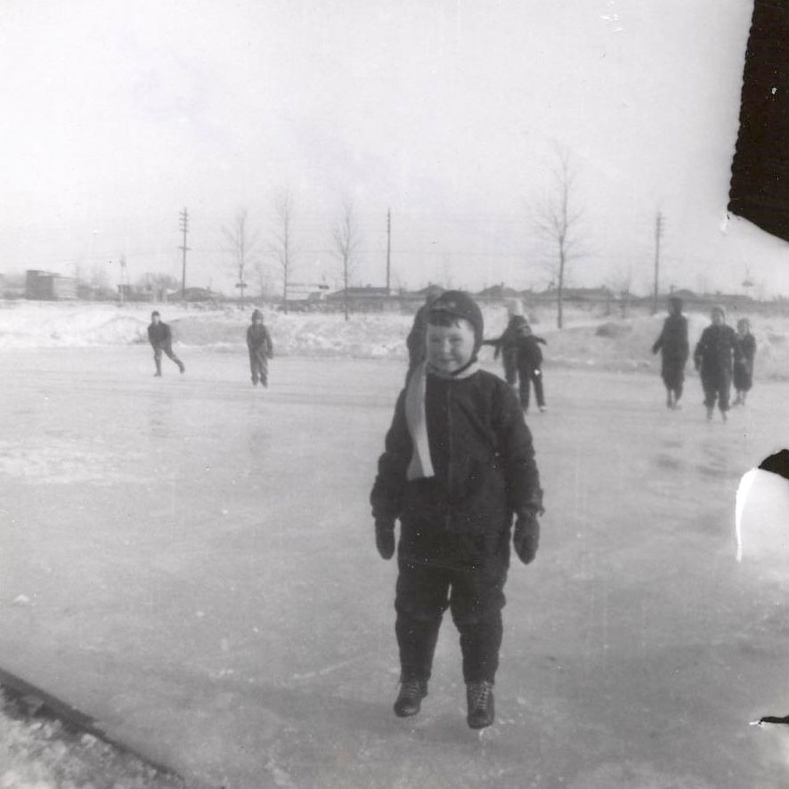 "January 1955, My brother, the athlete, on the ice our first winter in Victoria Park - note the absence of ""boards"""