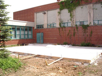 June 8 - Concrete slab in front of old gym