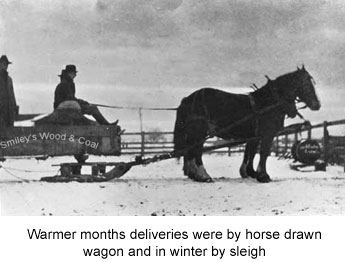 Warmer months deliveries made by horse drawn wagon and in winter by sleigh