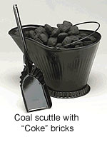 Coal scuttle with Coke bricks