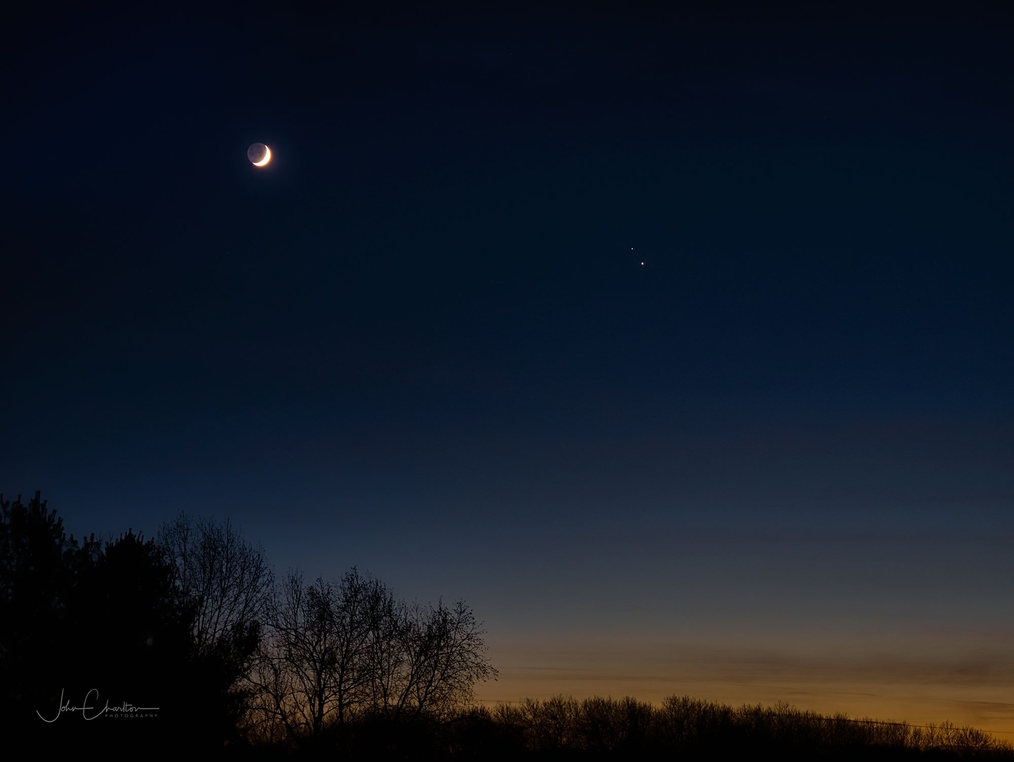 The Great Conjunction with Crescent Moon by John Charlton