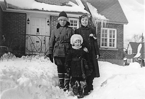 By the early 1950's we had become fully acclimatized and truly at home in St. Lambert.  Robert, Jean and Mary in front.