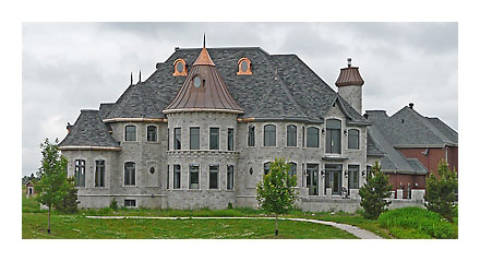 One of many dozen Chateau-style homes built in Brossard. St. Lambert, a much older city, lacks sufficient open space for this type of major development