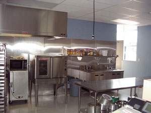 Cooking area in new cafeteria