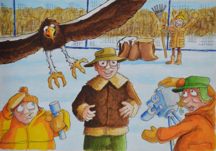 Stella, a majestic Steller's Sea Eagle, about to interrupt Robert's interview. (Cartoon by Rob Gillespie)