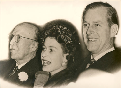 William Northey entertains Princess Elizabeth and Prince Phillip at Montreal Forum